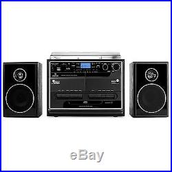 Chaine Musique CD Platine Vinyle Double K7 Radio Usb Mp3 Sd MMC Bluetooth Basse