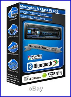 Mercedes Class-A Stereo Alpine UTE-200BT Kit Main Libre Bluetooth Mechless Radio