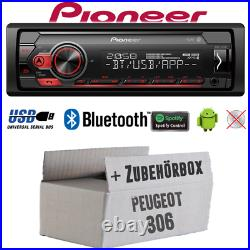 Pioneer Radio Pour Peugeot 306 Bluetooth Spotify MP3 USB Android Montage Voiture