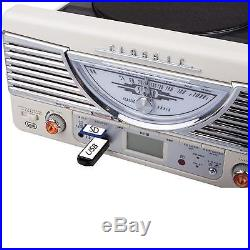 Systeme Hifi Stereo Retro Blanc Platine Vinyle Radio Am Fm Encodage Mp3 Usb Sd